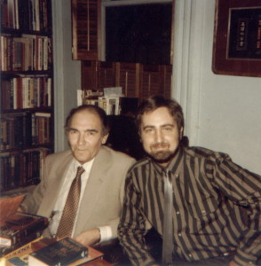 John Gardner and Raymond Benson signing books together in 1984.